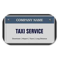 Limo & Taxi Service - Cool Licensed Plate Business Cards
