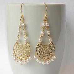 Gold Pearl Crystal Dangle Earrings