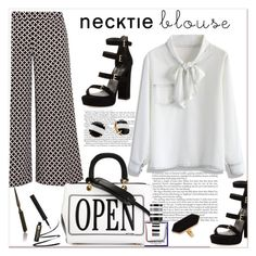 """""""Necktie blouse...."""" by nihal-imsk-cam ❤ liked on Polyvore featuring Stuart Weitzman, Chicwish, Moroccanoil, MICHAEL Michael Kors, Moschino, Balenciaga, Jaeger, Kate Spade, falltrend and necktieblouse"""