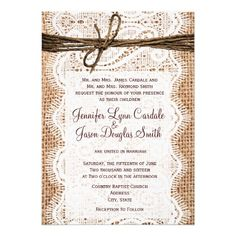 Rustic Country Burlap Print and Lace Twine Wedding Invitation for a country style or barn wedding.  http://www.zazzle.com/rustic_country_burlap_lace_twine_wedding_invites-161840289250632271?rf=238133515809110851 #wedding #country