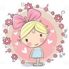 Menina e flores vetor e ilustração royalty-free royalty-free