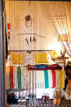 gretchen jones' design sponge sneak peek /ruby and george. Aka my dream room. Bohemian Interior, Bohemian Decor, Hudson Bay Blanket, Room Deco, Beaded Curtains, Home Bedroom, Bedrooms, Bedroom Ideas, Bedroom Inspo