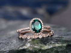 BBBGEM offers emerald rose gold wedding set,see our morganite engagement ring set rose gold in round,oval,cushion,princess,emerald cut,pear,heart shapes.