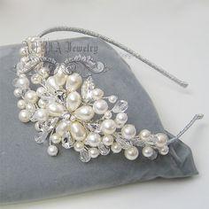 Accesorios para el cabello diadema de novia marfil por adriajewelry