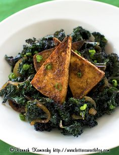 Crispy Peanut Tofu over a bed of kale? Only if it's the size of our actual beds.