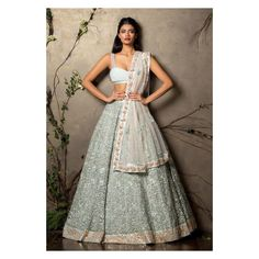 """Shyamal & Bhumika on Instagram: """"From our """"A Little Romance"""" collection, featuring a sophisticated ice blue tulle lehenga with tone on tone floral embroidery coupled with a…"""" Indian Reception Dress, Lehenga Reception, Shyamal And Bhumika, Blue Lehenga, Indian Ethnic Wear, Indian Dresses, Dream Dress, Indian Fashion, Tulle"""