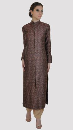 Black-Brown Jamawar Handwoven Banarasi Jacket With Dhoti Salwar