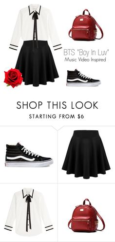 """BTS ""Boy In Luv"" Music Video Inspired Outfit"" by mochimchimus on Polyvore featuring Vans, Marc Jacobs and bts"