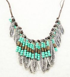 Bohemian Style Silver Resin Turquoise Bead Mteal Leaf Long Pendant Tassel Fringe…