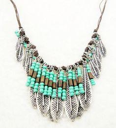 Bohemian Style Silver Resin Turquoise Bead Mteal Leaf Long Pendant Tassel Fringe…