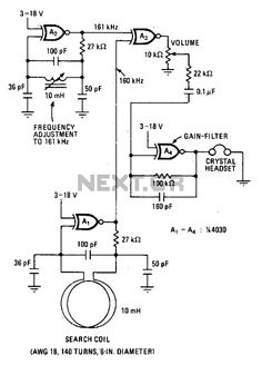 Metal detector with 4030 CMOS - schematic