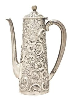 Large 19th C Silver J F Fradely Co Chocolate Pot