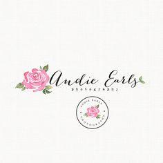 Rose Flower Logo Watercolor Logo Watermark by stylemesweetdesign