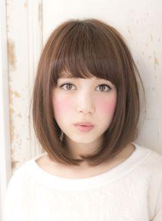 ☆愛され女子力ミディ☆  medium  light brown pink violet straight bang
