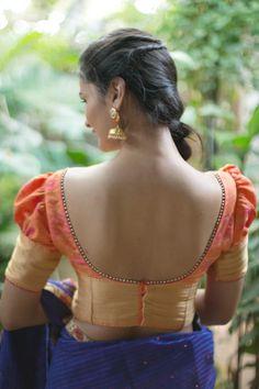 Top 40 latest blouse designs - The Handmade Crafts Pattu Saree Blouse Designs, Saree Blouse Patterns, Designer Blouse Patterns, Bridal Blouse Designs, Blouse Back Neck Designs, Stylish Blouse Design, Amai, Beautiful Blouses, Kalamkari Blouses