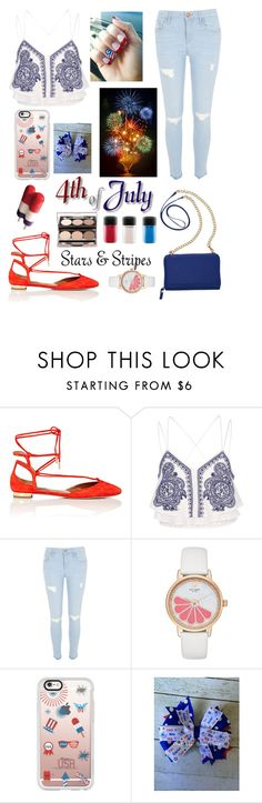 """""""Happy Fourth of July"""" by color-lover123 ❤ liked on Polyvore featuring Aquazzura, River Island, Kate Spade, Casetify, TravelSmith and Nude by Nature"""
