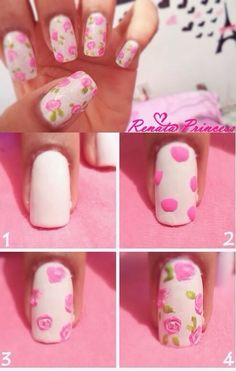 Rose nails. DIY.