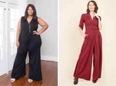 Plus size party outfits: Sleeveless Jumpsuit from Society Plus and The Embolden Age Jumpsuit from ModCloth Slacks, Trousers, Pants, Tights, Leggings, Party Outfits, Modcloth, Plus Size Fashion, Jumpsuit