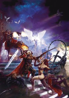 Sisters of Battle in conflict with servants of Slaanesh.