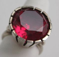 VINTAGE-MID-CENTURY-MOD-STERLING-SILVER-RUBY-RING-SIGNED-ABC-CUPCAKE-SETTING