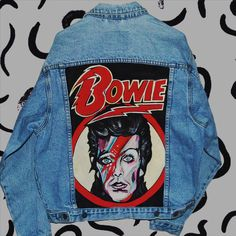 David Bowie hand painted denim jacket ($140) ❤ liked on Polyvore featuring outerwear, jackets, david bowie jacket, david bowie jean jacket, blue jackets, blue jean jacket and jean jacket