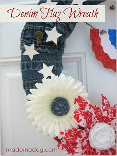 Denim Flag Wreath not fond of the flowers but kinda cute