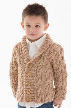 Cardigans for Children Knitting Patterns- Free knitting pattern for Little Man Cardigan - Alice Tang designed this stylish shawl-collared cable cardigan for Red Heart. Options for buttonholes on either side. Kids Knitting Patterns, Baby Cardigan Knitting Pattern, Baby Boy Knitting, Knitting For Kids, Free Knitting, Knitting Needles, Cable Cardigan, Man Cardigan, Knit Baby Sweaters