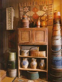 .awwwwesome tall bucket/crock bench!! loooove the 2 hinged w/raised panel doors on top shelf!!! never seen a shelf like this!!! Also notice the 3 fab pitchers w/cobalt blue designs on bottom shelf!!