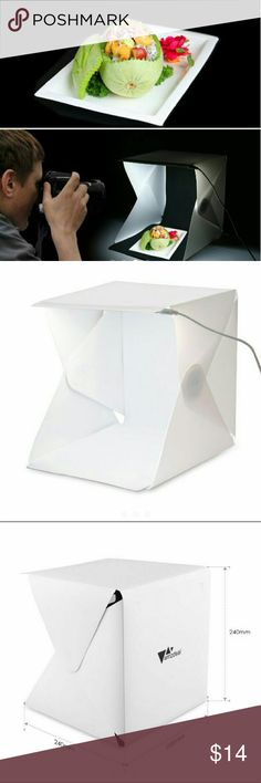"""Photo Studio Shooting Tent New Open Box Table Top Folding Photo Studio Shooting Tent White Photograhpy Light Tent Kit 24X22X24 cm  Features Portable and Folding Design Magnetic Structure, convienent for you to setup, store and carry about Compatible with smart phone, DSLR camera and other digital camera device Size opened:9.4""""*8.7""""*9.4"""", Size Folded:9.4""""*8.7""""*0.8"""" ideal for shooting small products such as toys,jewelry, watch and etc. With two backdrop (black and white), you can take…"""