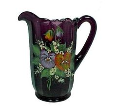 "Amethyst Art Glass 40 oz Water Pitcher. Decorated with Hand Painted Pansies. 8 1/2"" tall, Purple Glass, made by  Mosser."