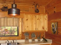 decor rustic cabin decor in kitchen with window and curtain also water faucet and decorative lights - Rustic Cabin Decor