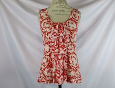 Anthropologie Floral Blouse By Language Size L Ruffles Cotton #Anthropologie #Blouse #Casual