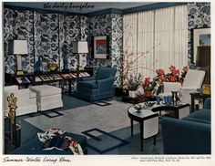 It's the summer-winter living room! I'd want to be there YEAR ROUND! Armstrong Flooring vintage/retro flooring ad. Winter Living Room, Living Room Decor, Living Rooms, Rec Rooms, 1940s Home, Armstrong Flooring, Mid Century Living Room, Vintage Interiors, Interior Decorating