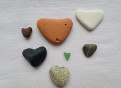 Galets cœurs. Poterie cœur. Verre de mer cœur, lot idéal pour fabrication de bijoux ou pour collection. Décoration mariage ,scrapbooking