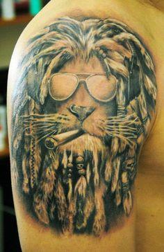 Lion tattoo #marijuana #marijuanatattoos http://budposters.com/