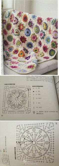 Love this!   Such a lovely crochet blanket with two motifs: the sunburst granny and the puff daisy one! by Miriam Zeilmann