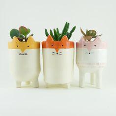 Three Fox Plant Pots  White and Orange Ceramic by MinkyMooCeramics