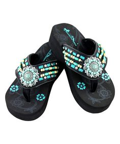 62b0688c1f40 Montana West Black   Turquoise Beaded Cross Concho Wedge Flip-Flop