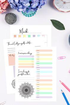 Daily Planner Printable - Printable Gratitude Journal - Mandala Coloring Pages - PDF Digital Download - Letter - Rainbow