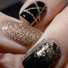 Love the CrissCross one! Black and Gold Nails, Gel Nails, Glitter Nails