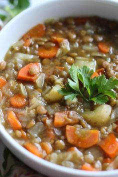 Vegan Lentil and Potato Soup - use onions, carrots, parsley and potato peels to make stock; shred carrots--- use less lentils