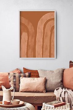 Palette de couleurs terracotta, rose, beige et brun // Escalier d'immeuble qui mixe un mur peint en rose et de la pierre vert gris Living Room Orange, Boho Living Room, Home And Living, Modern Living, Small Living, Flur Design, Deco Design, Minimalist Home, Minimalist Poster