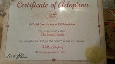Adoption Certificate for Holly Golightly our Elf on the shelf. Get it from www.elfontheshelf.com