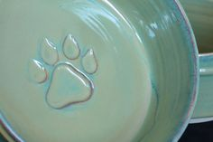 Large Dog Bowl with Apple Green Glaze by ThePawteryShop on Etsy