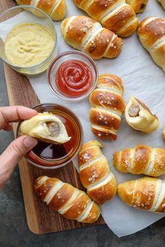 Breakfast Sausage Pretzel Rolls
