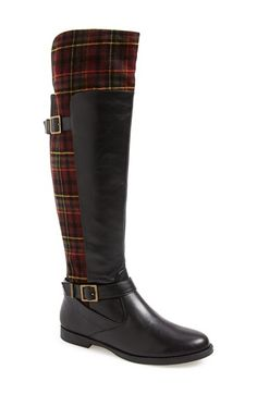 BELLA VITA 'Romy' Over the Knee Boot (Women) - black with burgundy plaid flannel - available at #Nordstrom