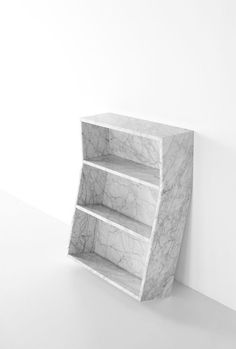 Marble bookcase 'Melt' by Thomas Sandell.