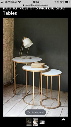 Round Nest of 3 Marble Side Tables – Coffee & Side Tables – Furniture - Marble Ideen Black Sofa Table, Sofa Side Table, Side Tables, Small Round Side Table, Metal Furniture, Table Furniture, Painted Furniture, Modern Furniture, Furniture Design