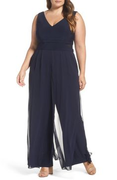 Free shipping and returns on Xscape Chiffon Panel Jumpsuit (Plus Size) at Nordstrom.com. Floaty chiffon panels draping the legs add sashay-inducing swish to a fitted sleeveless romper that shows off luminous skin with double V-necklines and peekaboo panels at the waist.
