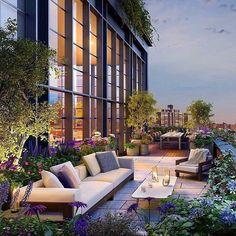 New York City Garden terrace - Luxury homes & Interiors - Terrasse Apartment Balcony Garden, Apartment Balconies, Terrace Apartments, Penthouse Garden, Penthouse Apartment, Terrace Hotel, New York Penthouse, Apartment Gardening, Luxury Penthouse